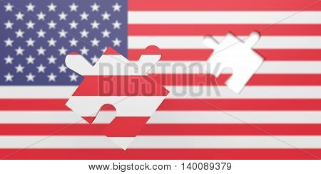 Empty missing Puzzle piece in US flag Stars and Stripes 3d illustration