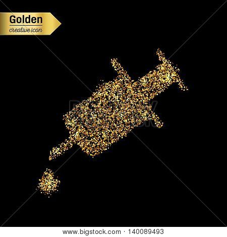 Gold glitter vector icon of syringe isolated on background. Art creative concept illustration for web, glow light confetti, bright sequins, sparkle tinsel, abstract bling, shimmer dust, foil.