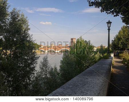 River Adige Panorama In Verona