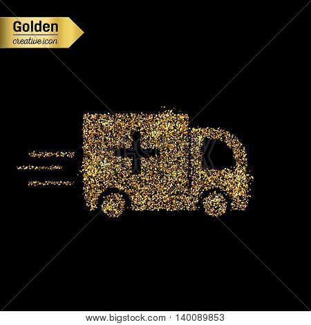 Gold glitter vector icon of ambulance isolated on background. Art creative concept illustration for web, glow light confetti, bright sequins, sparkle tinsel, abstract bling, shimmer dust, foil.