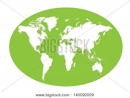 World map planet green color flat design
