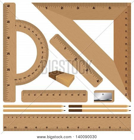 Wooden ruler and Drawing set on white background. Wooden texture.