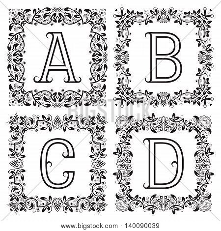 Vintage monograms set. A B C D outline letters in square floral frames.