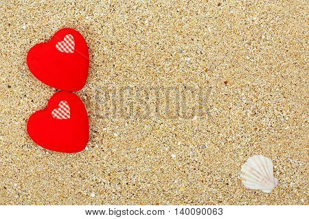 love hearts on sand for background use