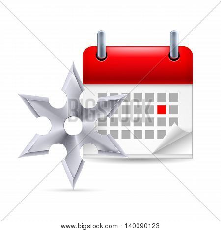 Page calendar with a marked red-letter day of the week. Near to shuriken