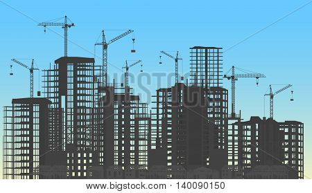 Building city under construction website process with tower cranes silhouette. Constructions infographics template concept