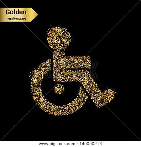 Gold glitter vector icon of wheelchair isolated on background. Art creative concept illustration for web, glow light confetti, bright sequins, sparkle tinsel, abstract bling, shimmer dust, foil.