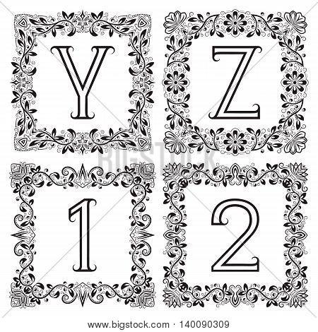 Vintage monograms set. Y Z outline letters and 1 2 numbers in square floral frames.