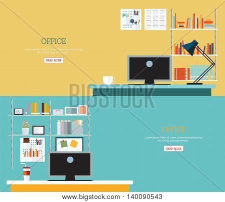 Business office interior style modern workplace cartoon flat design vector illustration.