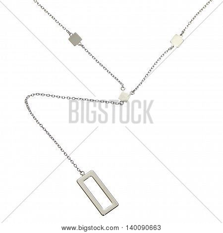 A silver chain with tablets on white background