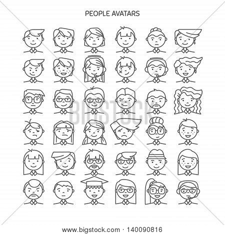 Set wth thin line icon of people stylish avatars for profile page social network social media different age man and woman characters. Vector illustration
