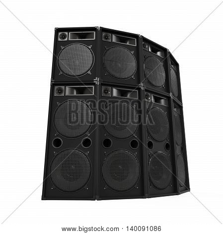 Speakers Sets isolated on white background. 3D render