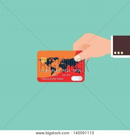 Businessman Hand holding credit card flat design vector illustration.
