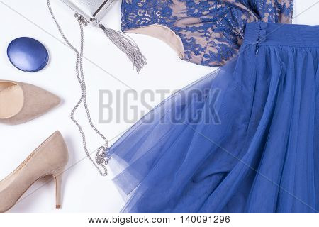 Woman Clothes And Accessories. Soft Blue Colors Female Apparel. Pale Colors Fashion Set