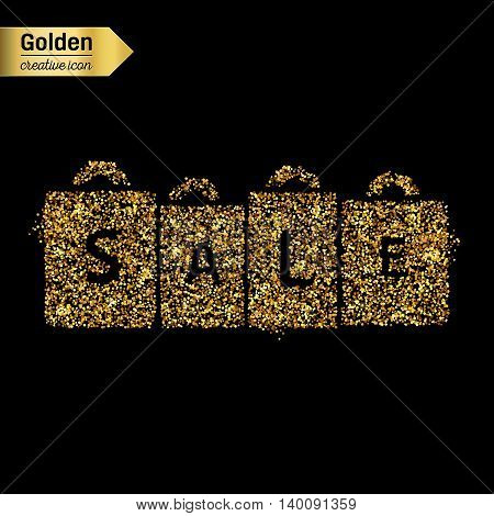 Gold glitter vector icon of packages isolated on background. Art creative concept illustration for web, glow light confetti, bright sequins, sparkle tinsel, abstract bling, shimmer dust, foil.