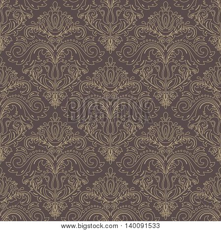 Seamless damask vector pattern. Traditional classic orient ornament with golden outline