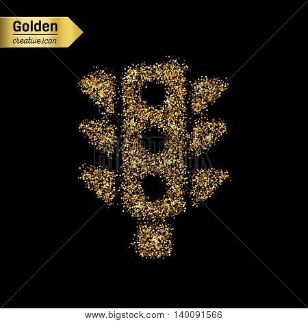 Gold glitter vector icon of traffic lights isolated on background. Art creative concept illustration for web, glow light confetti, bright sequins, sparkle tinsel, abstract bling, shimmer dust, foil.