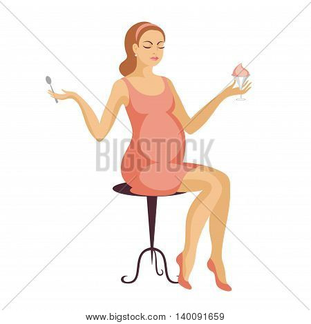 young, beautiful future mother in a pink dress sits on a stool and eats a  dessert
