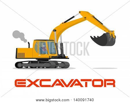 Vector illustration with flat industrial excavator. Construction equipment, mining transportation. Heavy machinery object. Isolated excavator on white background