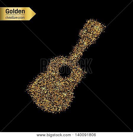 Gold glitter vector icon of guitar isolated on background. Art creative concept illustration for web, glow light confetti, bright sequins, sparkle tinsel, abstract bling, shimmer dust, foil.