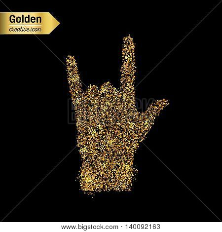 Gold glitter vector icon of hand rock isolated on background. Art creative concept illustration for web, glow light confetti, bright sequins, sparkle tinsel, abstract bling, shimmer dust, foil.