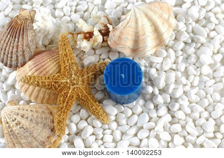 Sea Spa - blue candle with starfish and sea shells on white pebble