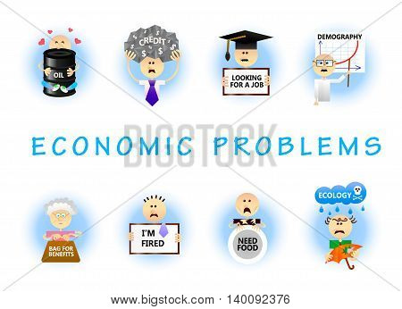 Set of economic problems concepts in flat style. Unemployment; dismissal; credits; crisis; overcrowding; bad ecology; hunger; population aging; oil dependence.