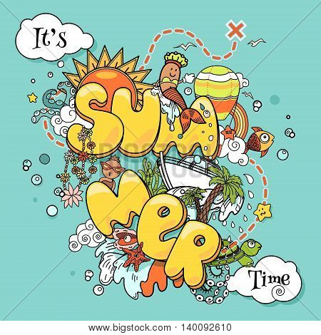 It's summer time. Vector illustration with doodles on sea and travel theme