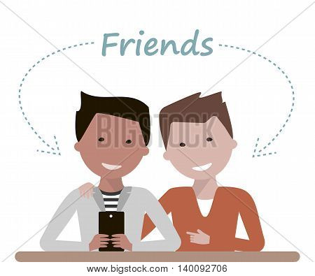 Two young man friends are watching in smartphone or tablet, laughing and talking. Friendship Day concept. Vector illustration flat design