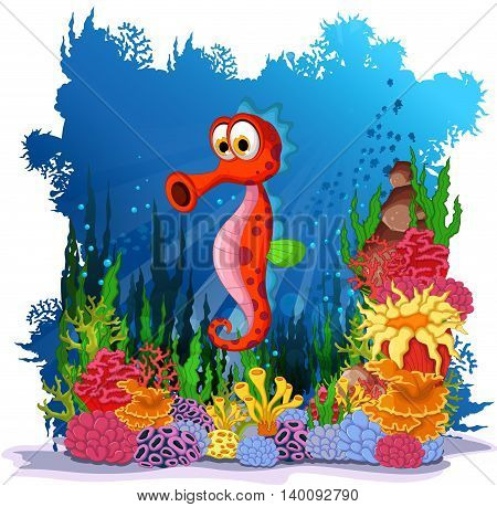 funny seahorse cartoon with sea life background