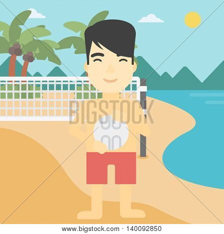 An asian young sportsman holding volleyball ball in hands. Sportive beach volleyball player standing at the shore with voleyball net. Vector flat design illustration. Square layout.