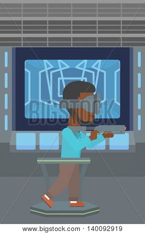 An african-american man wearing virtual reality headset. Young man playing video game while standing on a treadmill with a gun in hands. Vector flat design illustration. Vertical layout.