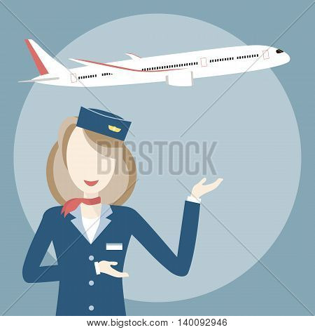Woman smiling stewardess on the background of airplane. Vector illustration flat design. Travel concept