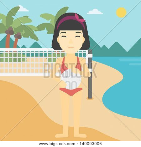 An asian young sports woman holding volleyball ball in hands. Sportive beach volleyball player standing at the shore with voleyball net. Vector flat design illustration. Square layout.