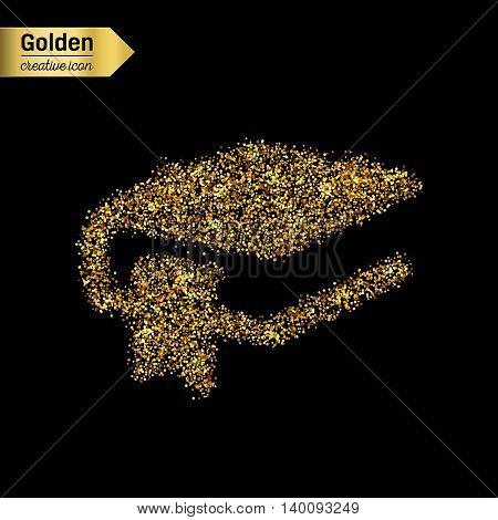 Gold glitter vector icon of book with a bookmark isolated on background. Art creative concept illustration for web, glow light confetti, bright sequins, sparkle tinsel, abstract bling, shimmer dust.