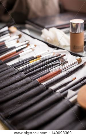 Makeup brushes in organizer. Brushes for face visage. Professional tools for makeup.