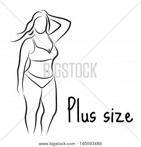 Girl silhouette sketch plus size model. Curvy woman symbol. Vector illustration