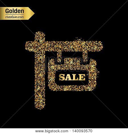 Gold glitter vector icon of plaque isolated on background. Art creative concept illustration for web, glow light confetti, bright sequins, sparkle tinsel, abstract bling, shimmer dust, foil.