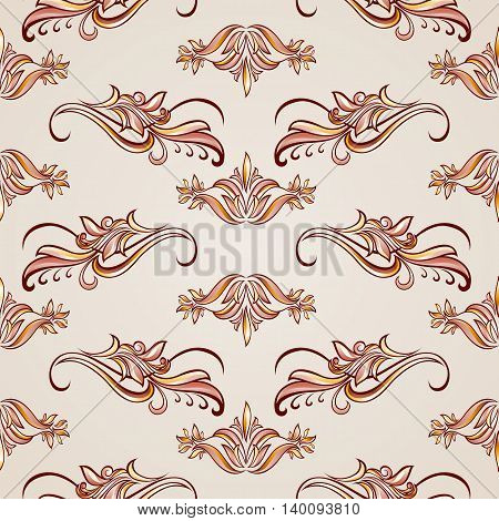 Seamless pattern in floral style with ornate elements in brown and rose pink shades