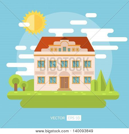 Flat landscape with palace and garden. Nature panorama with house. Vector illustration