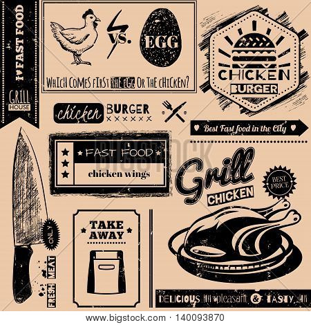 Vector background with fast food symbols. Menu pattern. Vector Illustration with chicken grill knife and lettering on craft paper background. Decorative elements for packaging design