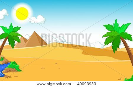 beautiful view of palm tree cartoon with desert landscape background