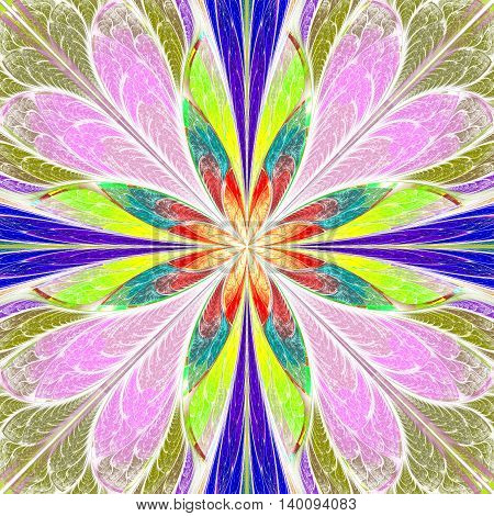 Multicolored symmetrical fractal flower in stained-glass window style. You can use it for invitations notebook covers phone cases postcards cards wallpapers and so on. Artwork for creative design.
