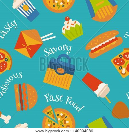 Seamless pattern with fast food symbols. Menu background. Vector Illustration with flat icons. Decorative elements for packaging design