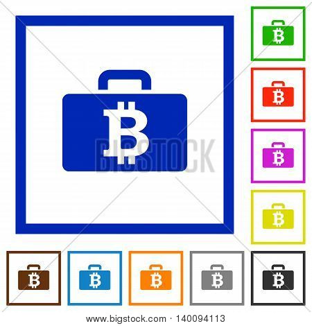 Set of color square framed Bitcoin bag flat icons