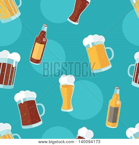 Seamless pattern with flat icons of different kinds of beer. Vector illustration