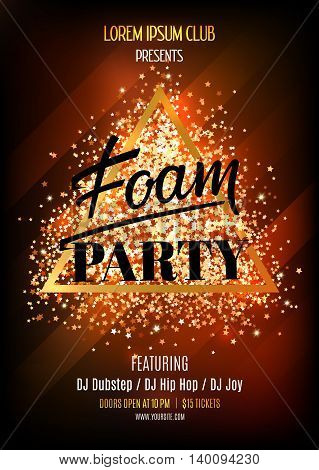 Foam party. Night club flyer template. Vector illustation with glitter and sparkles.