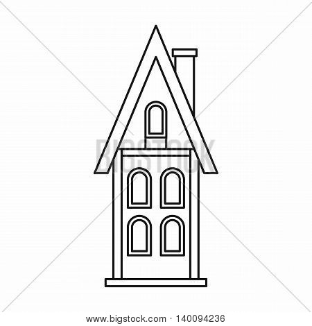 Two storey house with chimney icon in outline style on a white background