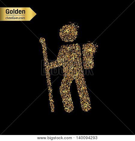 Gold glitter vector icon of hiker isolated on background. Art creative concept illustration for web, glow light confetti, bright sequins, sparkle tinsel, abstract bling, shimmer dust, foil.