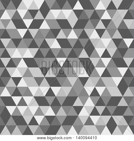 Geometric vector pattern with black, gray and white triangles. Seamless abstract background